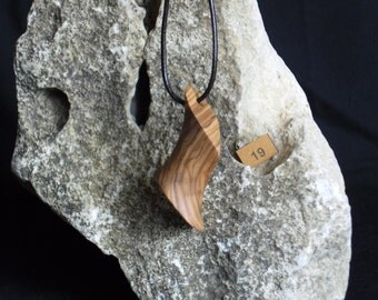 Hand carved olive wood necklace pendant