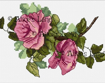 Cross stitch pattern pink roses original flowering branch, instantly downloadable in pdf format