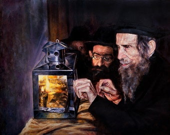 Jewish Art -Oil on Canvas print of Rabbi  Shteinman