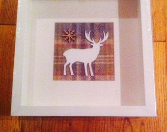 Handmade Tartan Stag & Snowflake Picture