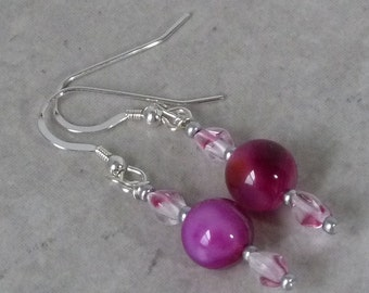 Purple Agate Earrings - Beadwork - Handmade