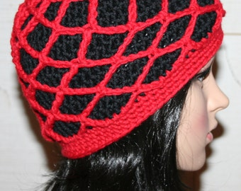 Fishnet Beanie Adult Crochet Hat