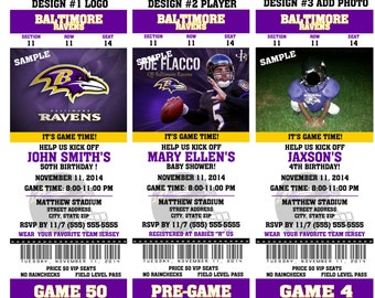 Printable Birthday Party Invitation Card  Baltimore Ravens Birthday Ticket Invitation Card Baltimore Ravens Tickets Invitation Football