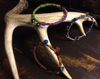 Dried Sari Silk Bangles w/wire wrapped beads