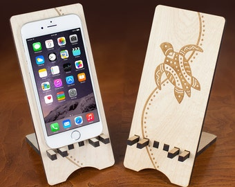 Wood iPhone 6 stand with sea turtle engraving