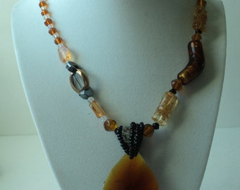 Art Deco, Bohemian Chic, Handmade, Warm colored Necklace