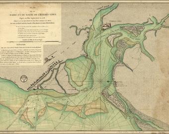 24x36 Poster; Map Harbors Charleston South Carolina 1778 French