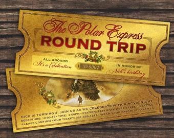 Polar Express Ticket Invitation for Birthday Party - Train Santa ...