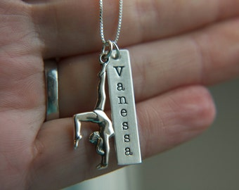 Silver Gymnastics Necklace, Sterling Silver, Custom Gymnast Coach Mom Jewelry, Gymnast Beam Floor Necklace, Custom Name Jewelry