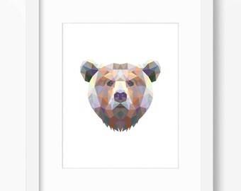 Bear Print, Bear Art, Bear Wall Art, Geometric Bear Print, Wall Print, Origami Bear Print, Bear Face, Geometric Bear Art, Triangle Bear Art