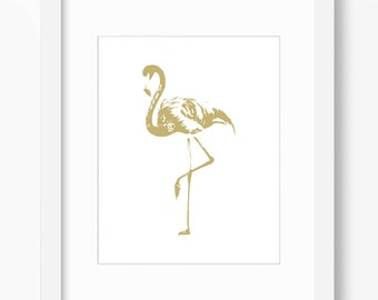 Flamingo Print, Flamingo Art, Flamingo Wall Art, Flamingo Silhouette, Gold Flamingo, Gold Flamingo Silhouette, Gold Silhouette, Gold Art
