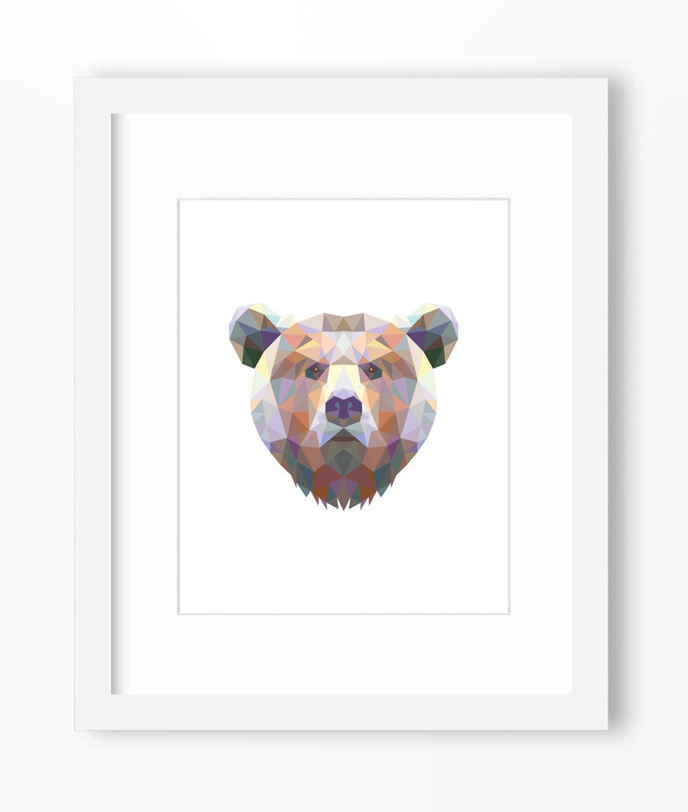 bear print bear art bear wall art geometric bear print