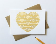 Love Card, Gold Heart, Cupid's Arrows, White Paper (Individual Card)