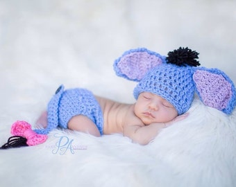 Crochet eyyore hat and diaper cover