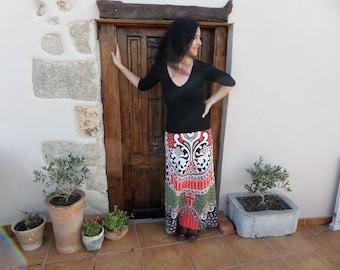 70s woolen printed maxi skirt