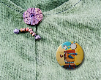 Pinback button with a funky robot– Colourful illustration