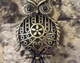 vintage owl necklace, hand-made, original