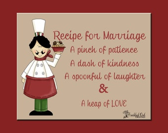 "Recipe for Marriage, ""Fat Chef"", Fat Chef Kitchen Art, INSTANT DOWNLOAD, Bridal Shower Gift, Italian Chef"