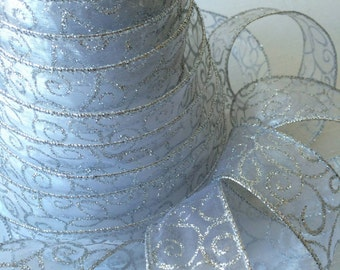 "Fancy Sheer Silver Swirl Embellished Wire Ribbon - 1.5"" wide wired seamless ribbon for bows, holiday decorations, gifts"