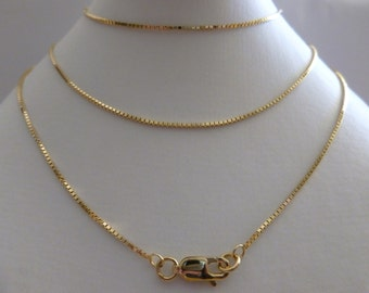 9ct Solid Yellow Gold Box Chain Necklace 1.1mm 60cms 24 Inches N99, 9k 375, 10k, Hallmarked Gold Chain, Men Women, Free Gift Pouch
