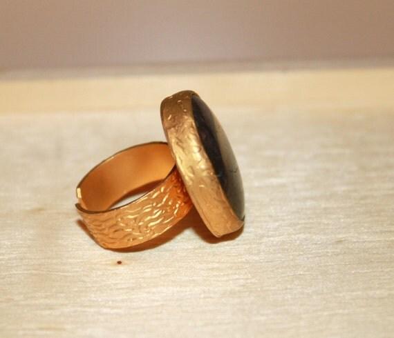 grey iolite ring gold plated bezel ring gemstone ring