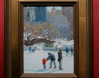Original oil painting, Skating, Central Park, New York City, Framed