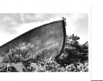 DREAM BOAT in the Sky -- NJ Nautical Graveyard Photography Black & White Photograph Vintage Toms River New Jersey~Steel Coast Guard Rescue