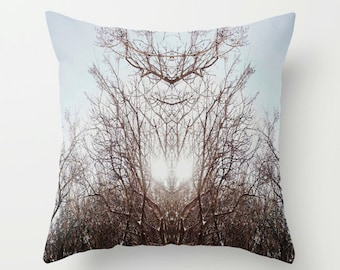 Winter Sun THROW PILLOW forest woods trees geometric mirrored print mystical sacred geometry nature photography, novelty home decor
