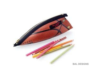 Pencil case original, writing case leather, glasses case, gift for him, gift teen boy, gift sport, basketball, teacher gift original