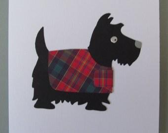 Pitcairn Tartan Scottie Dog Greetings Card