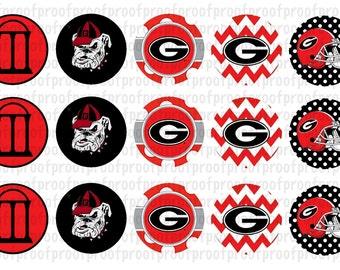 Georgia Bulldogs Inspired Bottle Cap Images