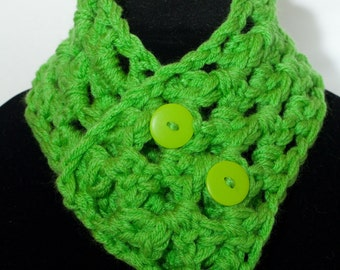 Toddler Spring Green Neck Warmer Scarf with Functional Green Buttons