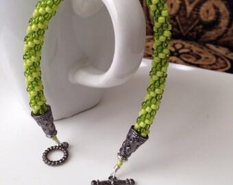 Green Kumihimo bracelet, beaded bracelet,woven bracelet, green bracelet,Mother's Day gift, gift for women,