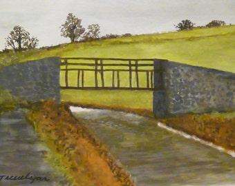 Original watercolour, Ayshford Bridge on the Grand Western Canal, Devon