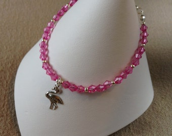 Pink beaded flamingo charm bracelet