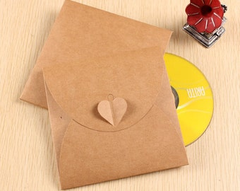 10pcs CD Sleeve Recycled Kraft Paper CD Sleeves CD Box set 13*13cm (CD003)