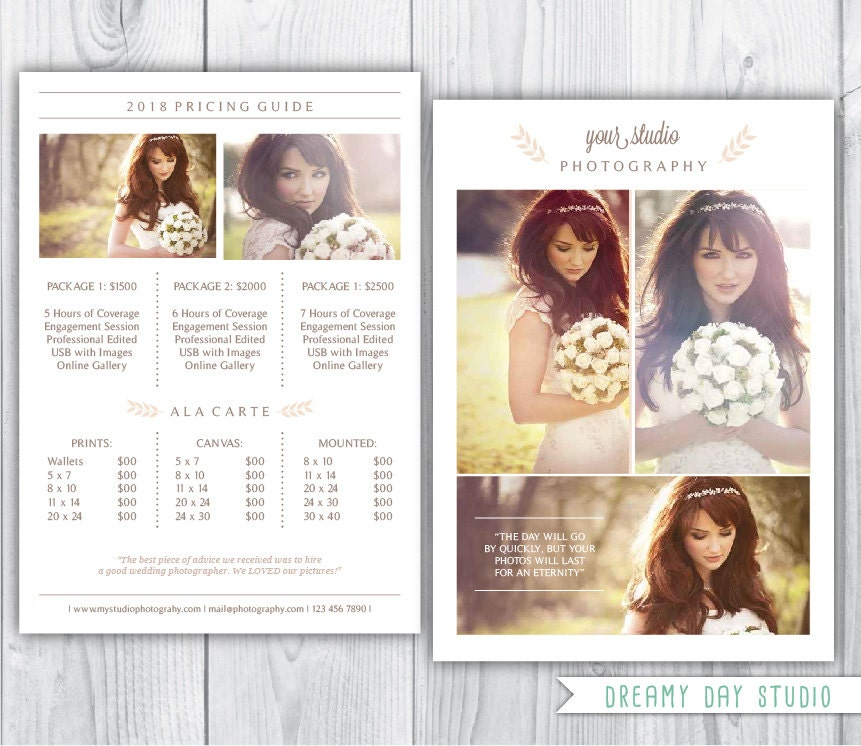 Photography Pricing Template / Wedding Photographer Pricing