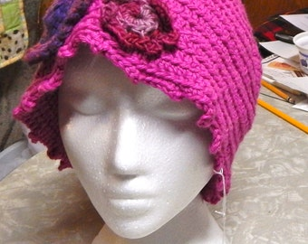 Pink Crochet Hat with Flowers