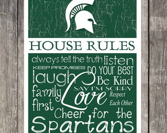Michigan State Spartans House Rules 4x4.1/2 Fridge Magnet