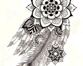 Feathers Mandala Print A3