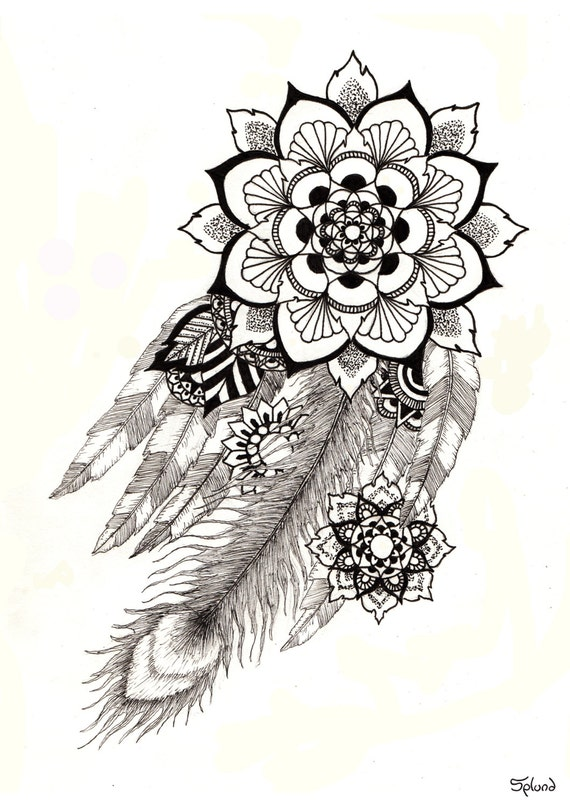 Items similar to feathers mandala print a3 on etsy - Mandala beau et difficile ...