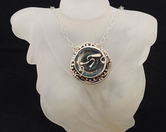 Roman Glass Pendant Necklace Authentic & Luxurious With Certificate Sterling Silver 925