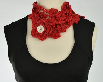 for crochet necklace scarf with flowers