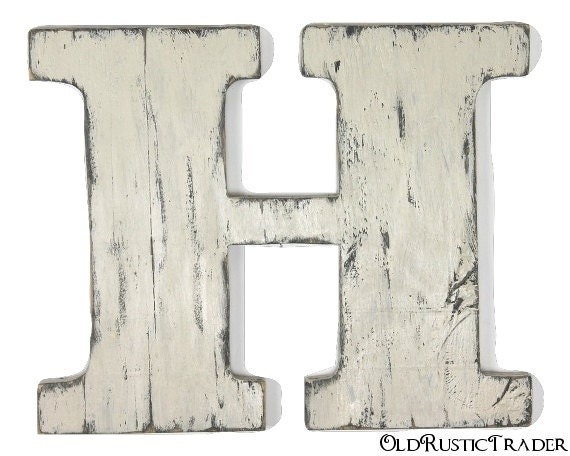 Rustic Wall Letter H Wooden Letter 12 Inch Large Wood Letter