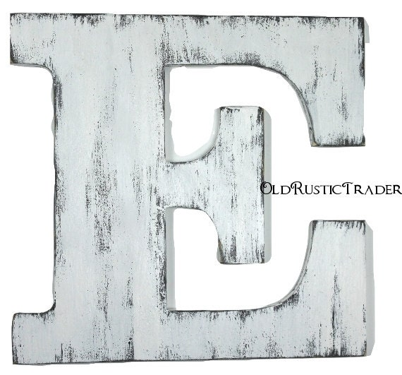 Rustic alphabet letter e 18 inch large letter wall decor for Large letter e for wall