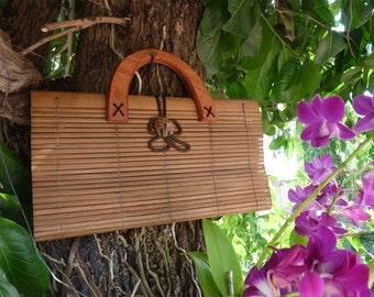 Hand Bag Clutch Bag Purse  Natural Fair Trade Handmade Bamboo Thai Asian Elephant Button Cute Girls