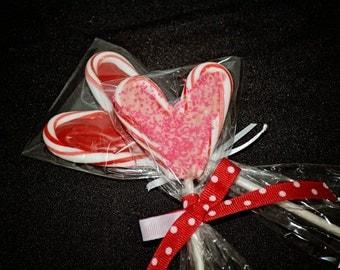 Peppermint Heart Chocolate Lollipops