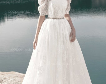 "Designer Wedding Dress in Vintage Style Romantic gown from original French floral Lace in Vintage Style -""Kapri"""