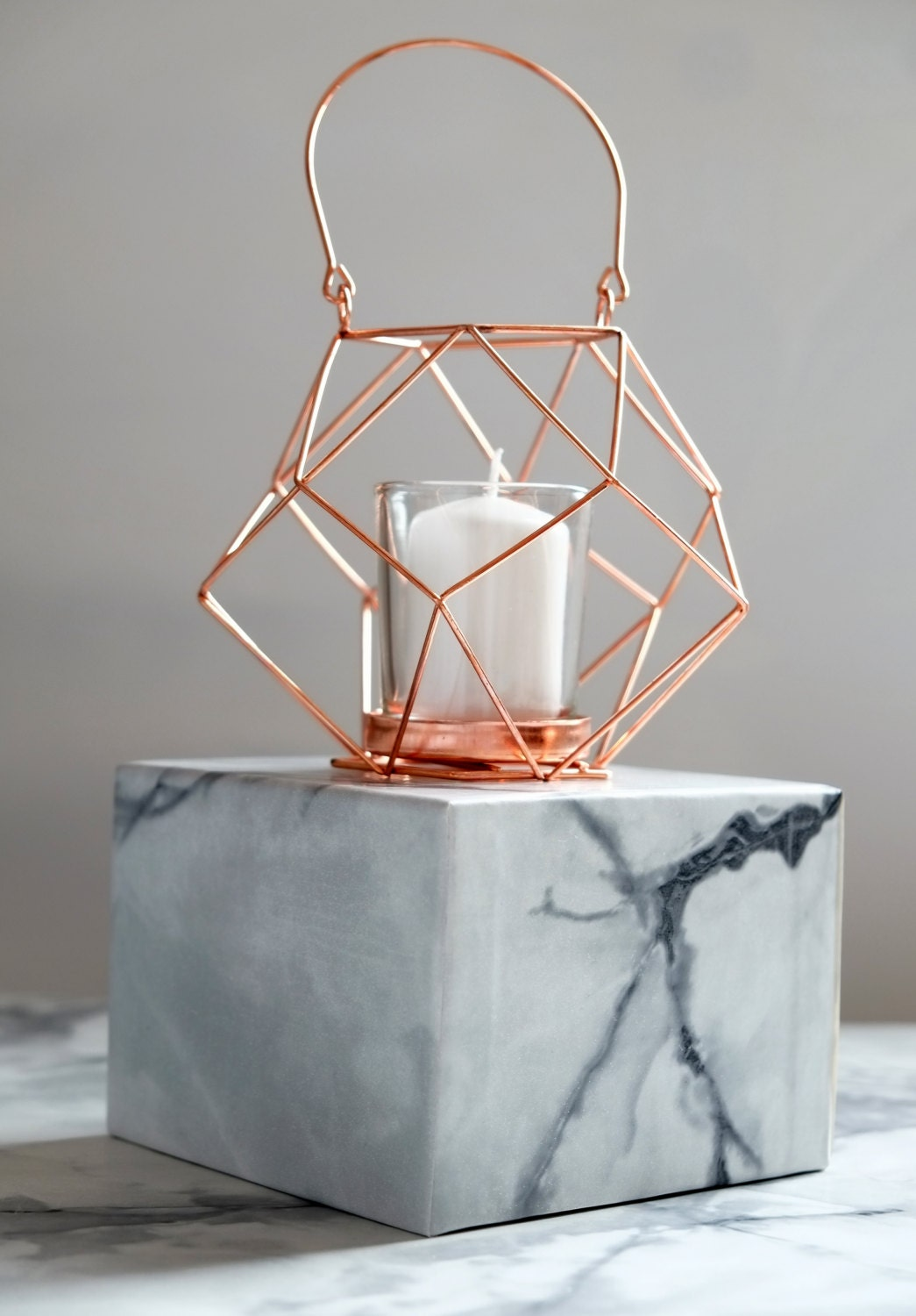 Copper geometric wire candle holder by geofleur on etsy for Deco maison rose gold