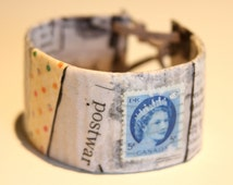 """Recycled Paper Mega Cuff Bracelet: Titled """"Post War"""" - recycled/repurposed paper decoupage mega bracelet cuff, hand made, one-of-a-kind item"""